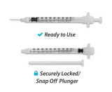 862915 EasyTouch Retractable Safety Insulin Syringe w/ Fixed Needle, 1 mL, 29G, 12.7mm, 1/2""