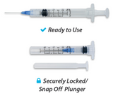 872237 EasyTouch Retractable Safety Syringe w/ Exchangeable Needle, 3 mL, 22G, 40mm, 1.5""