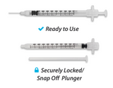 852518 EasyTouch Retractable Safety Syringe w/ Fixed Needle, 1 mL, 25G, 16mm, 5/8""