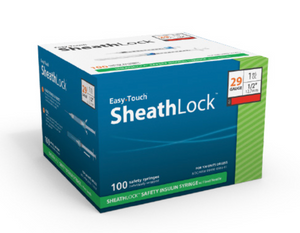 833015 EasyTouch SheathLock Safety Insulin Syringe w/ Fixed Needle, 1 mL, 30G, 12.7mm, 1/2""