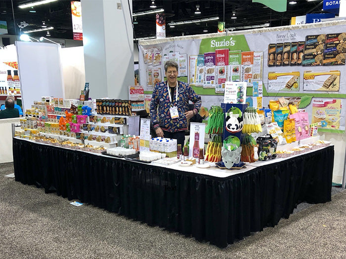 Suzie's Founder at a Tradeshow