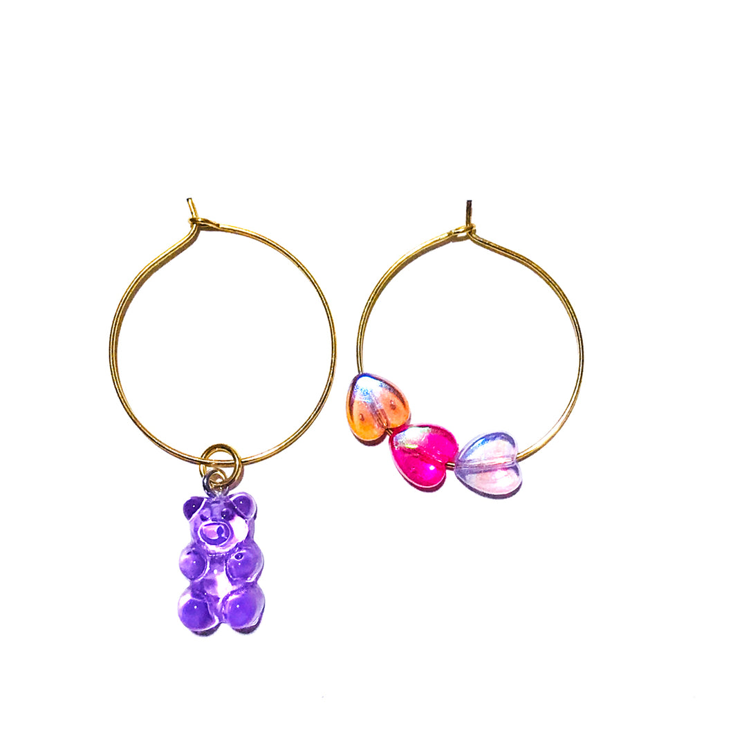 Purple Gummiez Hoop Earrings
