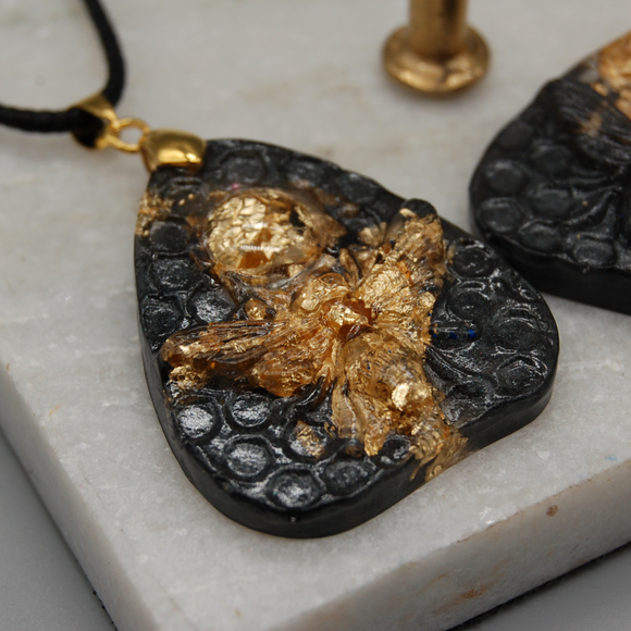Black and Gold Flake Bee Planchette Necklace - Tilly Anne Designs
