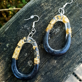 Black and Gold Large Oval Hanging Earrings - Tilly Anne Designs
