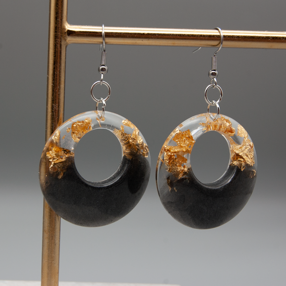 Black and Gold Large Circle Hanging Earrings - Tilly Anne Designs