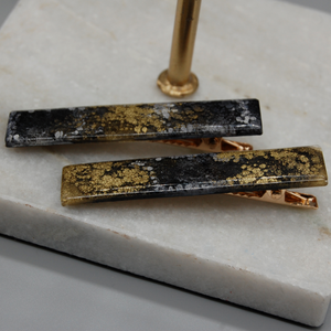 Black and Gold Sleek Resin Hair Clips - Tilly Anne Designs