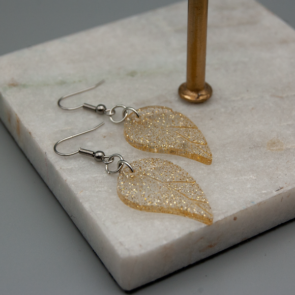 Gold Glitter Resin Hanging Earrings - Tilly Anne Designs
