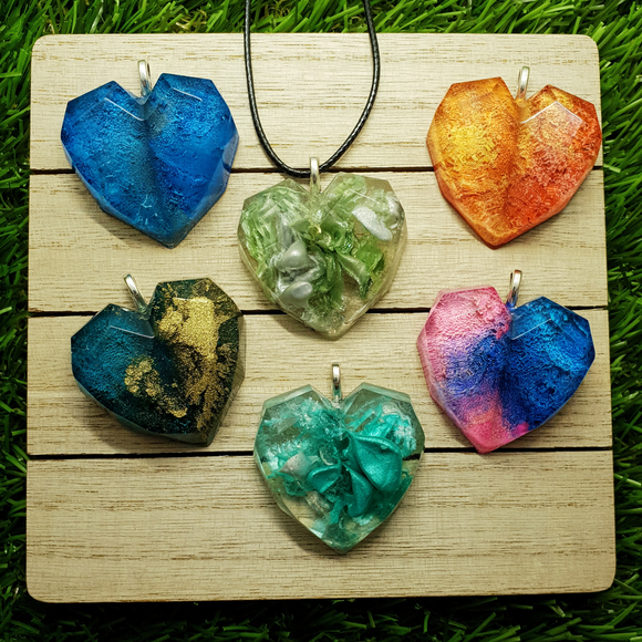 Colourful Resin Heart Necklace - Tilly Anne Designs