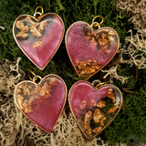 Bright Gold style pink and gold flake Heart Resin necklaces - Tilly Anne Designs