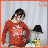 LADY LONG SLEEVE SHIRT #75827 [ YOU MAKE ME SMILE ]