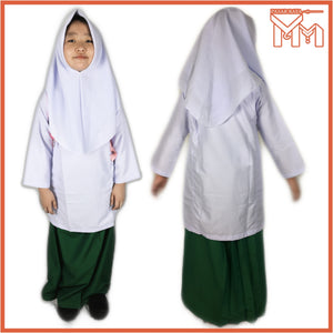 SCHOOL UNIFORM PRIMARY SCHOOL KAIN KURUNG AGAMA GETAH 140*72 TC GREEN