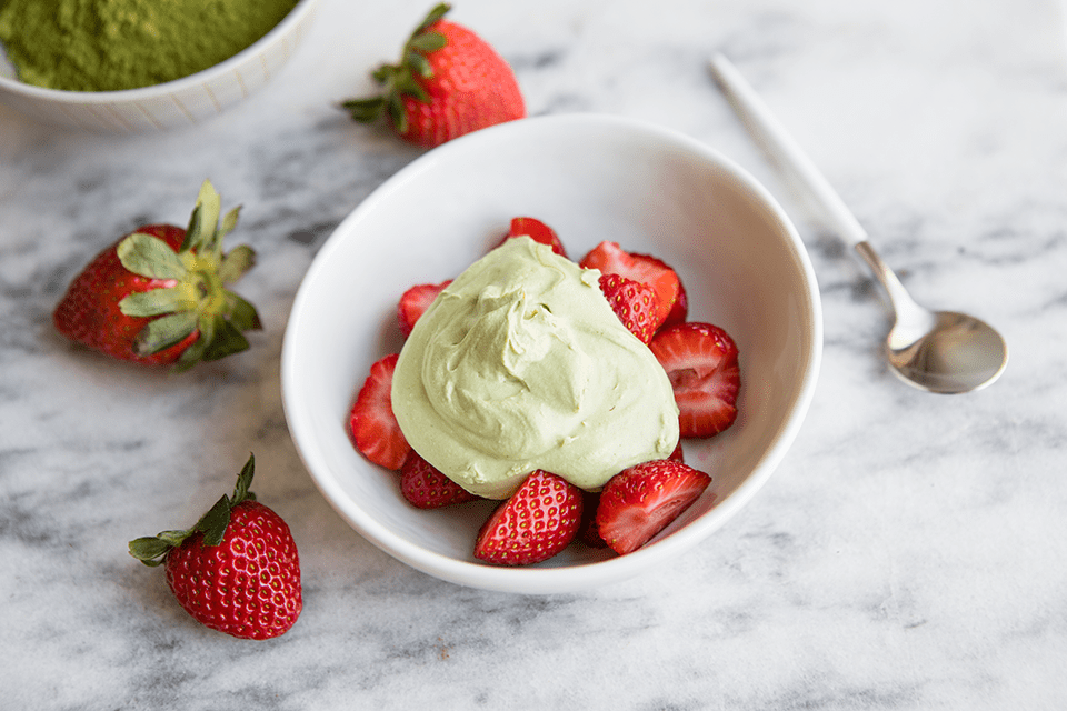 strawberry and matcha whipped coconut cream