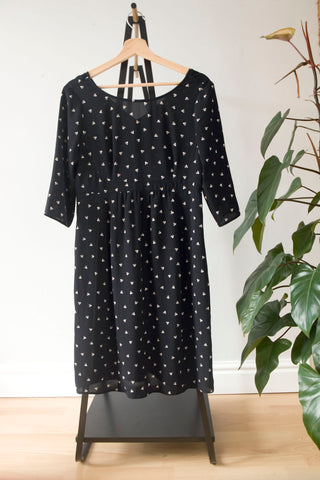 Seraphine Black Spot Print Maternity Dress UK 10