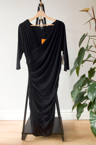 Isabella Oliver Black Jersey Drape Dress UK 16