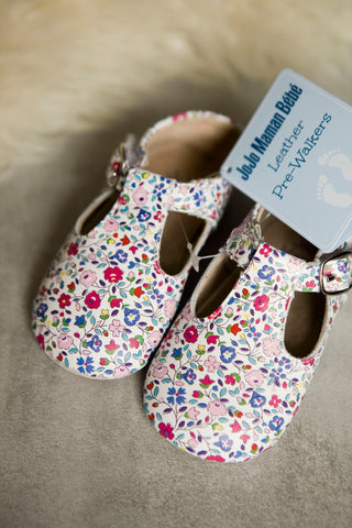 Jojo Maman Bebe Floral Leather Prewalkers 12-18m