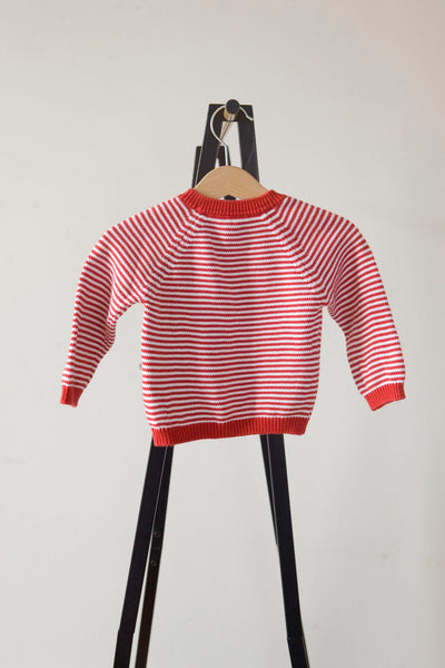 Mori Red and White Stripe Knitted Jumper 3-6m