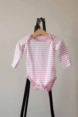 Frugi Pink and White Stripe Long Sleeve Vest 3-6m