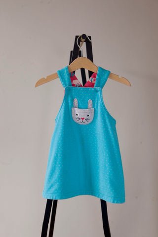 Frugi Reversible Bunny Dungaree Dress 6-12m