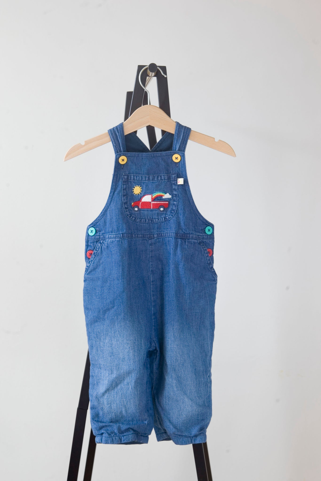 Frugi Rainbow Truck Hopscotch Dungarees 6-12m