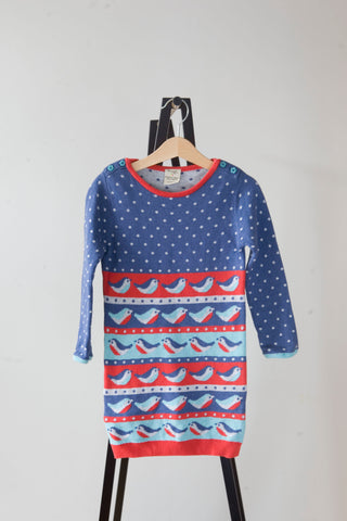 Frugi Blue and Red Bird Jumper Dress 3-4y