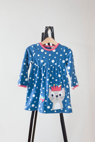 Frugi Blue Spotty Cat Dress 18-24m
