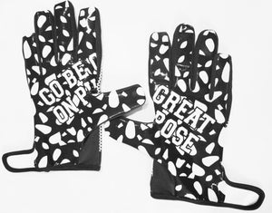 """Go Be Great On Purpose"" Football Gloves White w/Black"