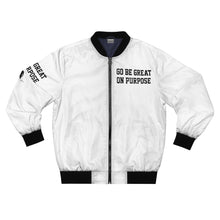 "Load image into Gallery viewer, ""Go Be Great On Purpose"" Men's AOP Bomber Jacket"