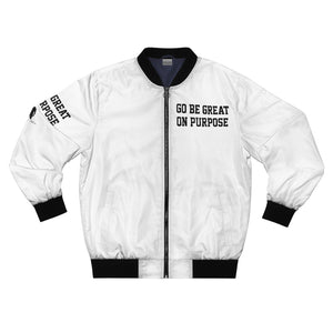 """Go Be Great On Purpose"" Men's AOP Bomber Jacket"
