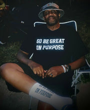 "Load image into Gallery viewer, ""Go Be Great On Purpose"" Socks White w/Black Letters"