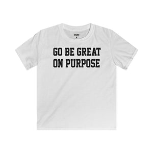 """Go Be Great On Purpose"" Classic Kids Softstyle Tee Black"