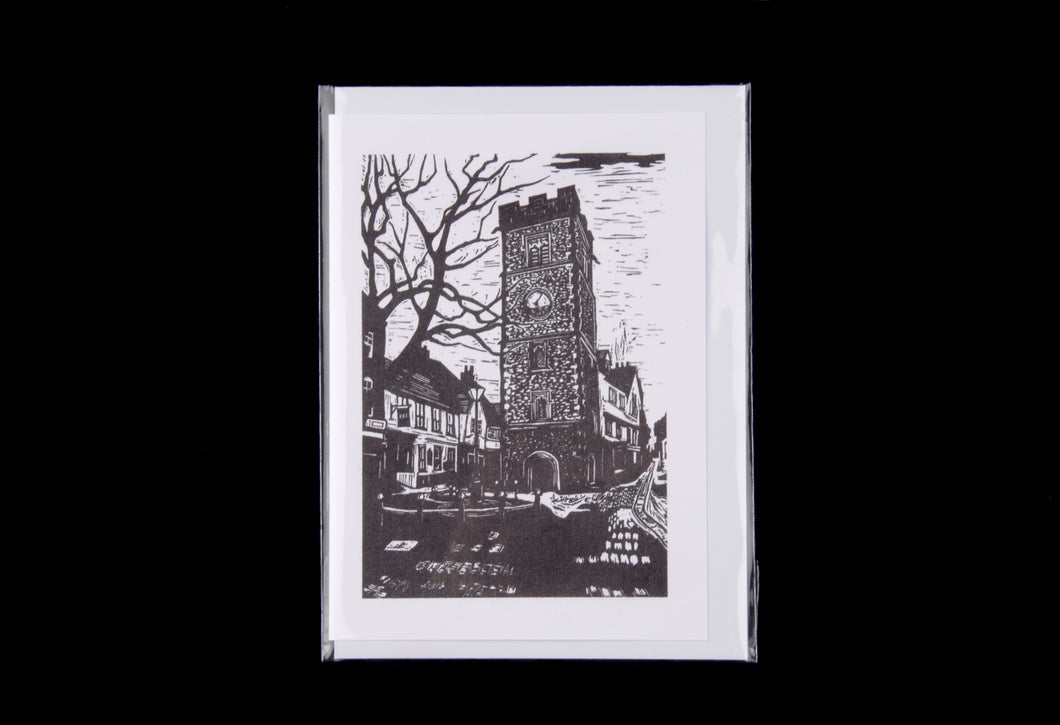 The Clock Tower Linocut greeting card