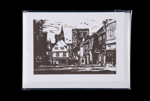 St Albans Market Place Linocut greeting card