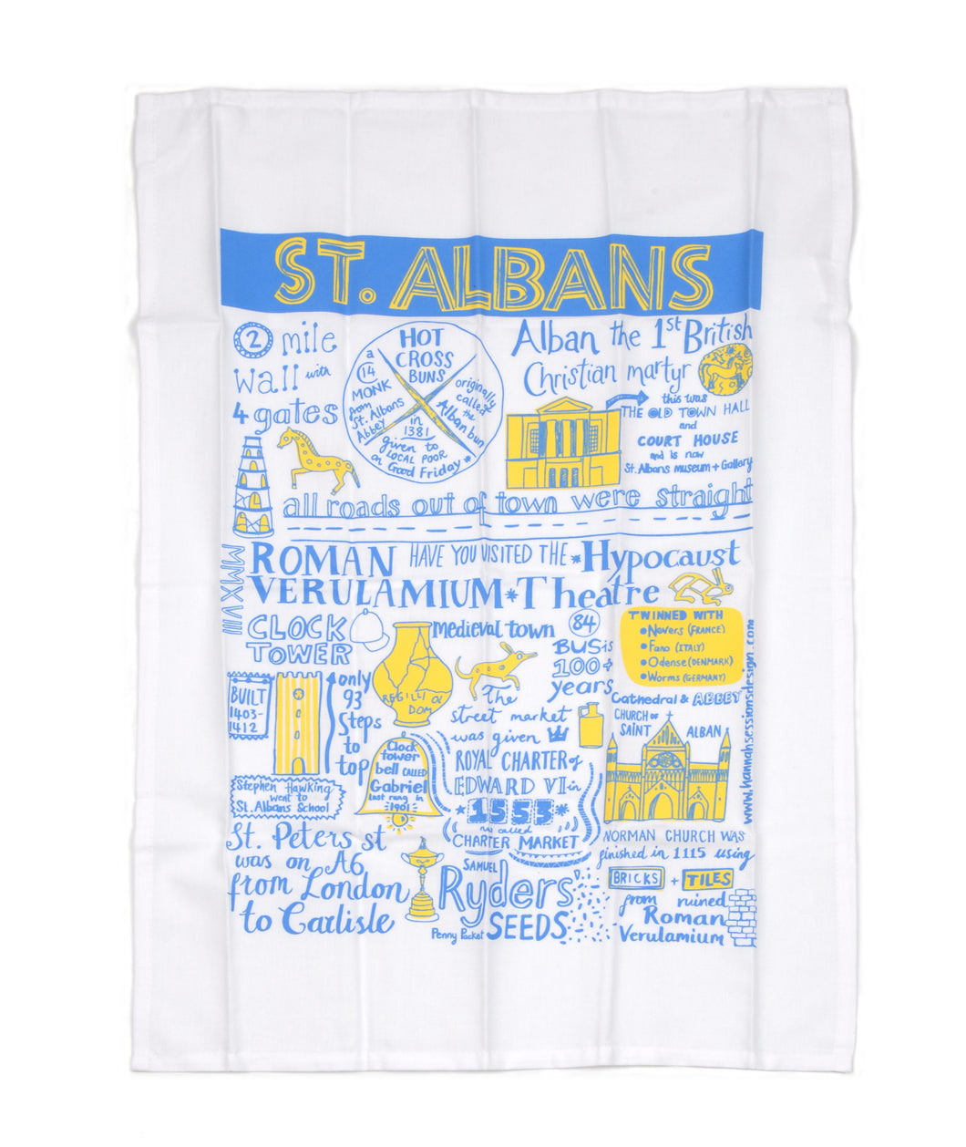 St Albans City Tea Towel by Hannah Sessions