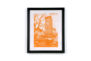 The Clock Tower Linocut Framed Print