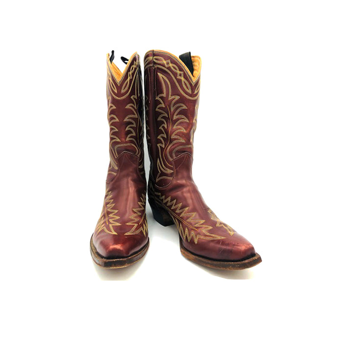 Men's Burgundy Cowboy Boots Gold and Grey Flame  and Fancy Stitch Pattern 12