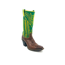 "Load image into Gallery viewer, Women's Brown Alligator Cowboy Boots Green Stovepipe Shaft Fancy Western Yellow Stitch 12"" Height Snip Toe 2"" Underslung Heel Size 5"