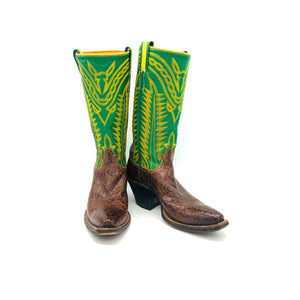 "Women's Brown Alligator Cowboy Boots Green Stovepipe Shaft Fancy Western Yellow Stitch 12"" Height Snip Toe 2"" Underslung Heel Size 5"