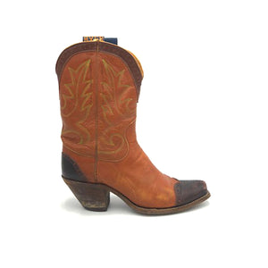 "Women's Cognac Cowboy Boots Chocolate Wingtip Heel Counter and Collar Green and Gold Stitch 9"" Height 1"" Box Toe 2"" Underslung Heel Size 6"