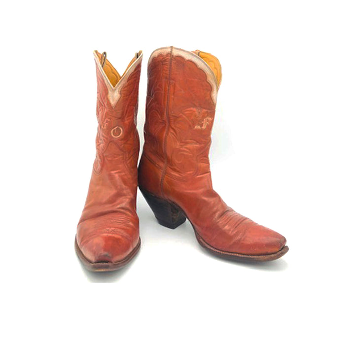 Women's Cognac Cowboy Boots Cream Collar Stitched