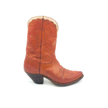 "Load image into Gallery viewer, Women's Cognac Cowboy Boots Cream Collar Stitched ""F"" and ""O"" Initials on Shaft 9"" Height Snip Toe 2"" Underslung Heel Size 5"