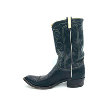 "Load image into Gallery viewer, Men's Black Cowboy Boots White Piping and Western Stitch Pattern Classic Toe Medallion 12"" Height Pointed Toe 1 1/4"" Heel Size 11"