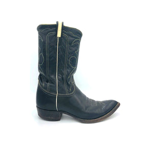 "Men's Black Cowboy Boots White Piping and Western Stitch Pattern Classic Toe Medallion 12"" Height Pointed Toe 1 1/4"" Heel Size 11"