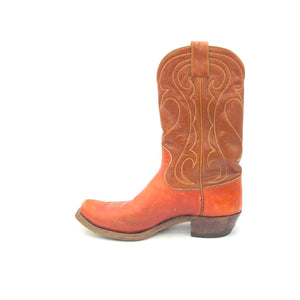 "Men's Cognac Cowboy Boots Light Brown Shafts Grey and Gold Western Stitch Pattern 10"" Height 1"" Box Toe 1 1/4"" Heel Brown Sole"
