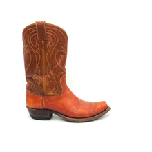 "Load image into Gallery viewer, Men's Cognac Cowboy Boots Light Brown Shafts Grey and Gold Western Stitch Pattern 10"" Height 1"" Box Toe 1 1/4"" Heel Brown Sole"
