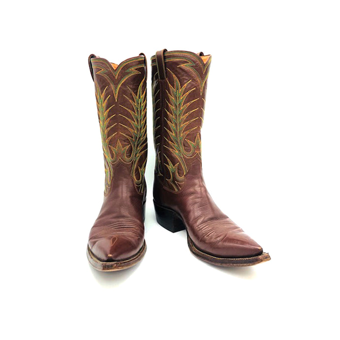 Men's Brown Cowboy Boots Elaborate Green Orange and Yellow Western Stitch Toe Medallion 12