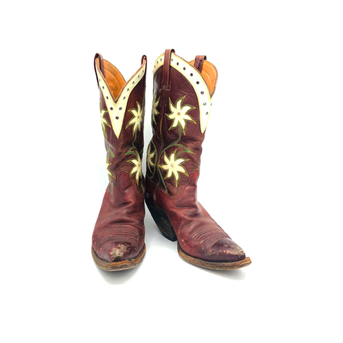 Women's Burgundy Cowboy Boots Green and Tan Stitch White Floral Inlays White Collar with Perforations 11 1/2