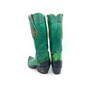 "Women's Green Cowboy Boots Black Lizard Wingtip Heel Counter Red Stitch Mule Ear Pull Straps with Red Inaly 13"" Height Pointed Toe 1 1/2"""