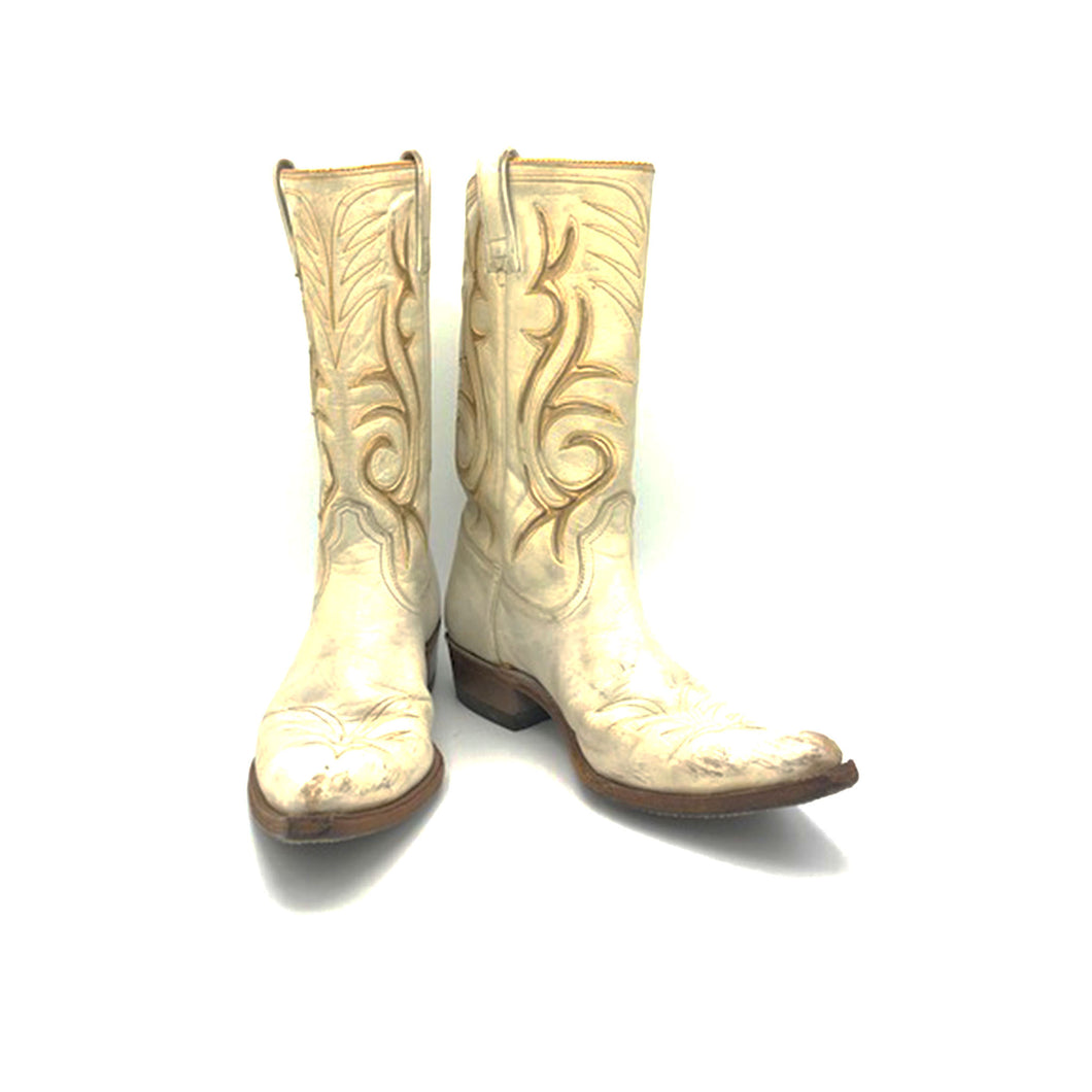 Women's White and Gold Cowboy Boots Stovepipe Shaft Metallic Gold Inalys Toe Medallion 11