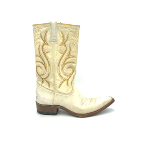 "Women's White and Gold Cowboy Boots Stovepipe Shaft Metallic Gold Inalys Toe Medallion 11"" Height Pointed Toe 1 1/4"" Heel Size 6.5"