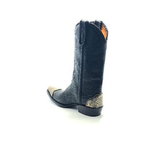 "Men's Black Cowboy Boots Handtooled Floral Pattern on Vamp Shaft and Pull-Straps Black Handbraided Collar Side Seams and Pull-Straps Aged Metal Engraved Toe and Heel Counters 13"" Height  Elongated Snip Toe 1 1/2"" Underslung Heel Black Sole"